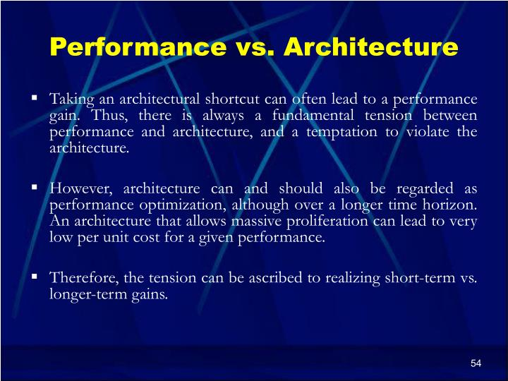 Performance vs. Architecture