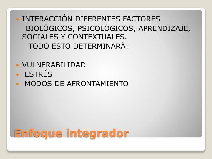 INTERACCIÓN DIFERENTES FACTORES