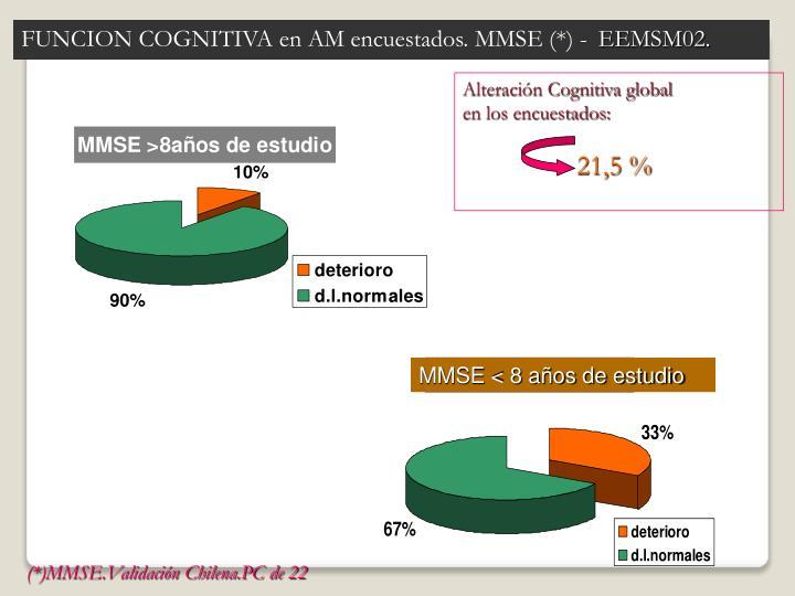 FUNCION COGNITIVA en AM encuestados. MMSE (*) -
