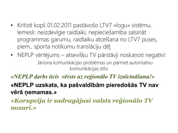 Kritiz kop 01.02.2011 pastvoo LTV7 logu sistmu. Iemesli: neizdevgie raidlaiki, nepiecieamba sasint programmas garumu, raidlaiku atcelana no LTV7 puses, piem., sporta notikumu translciju d