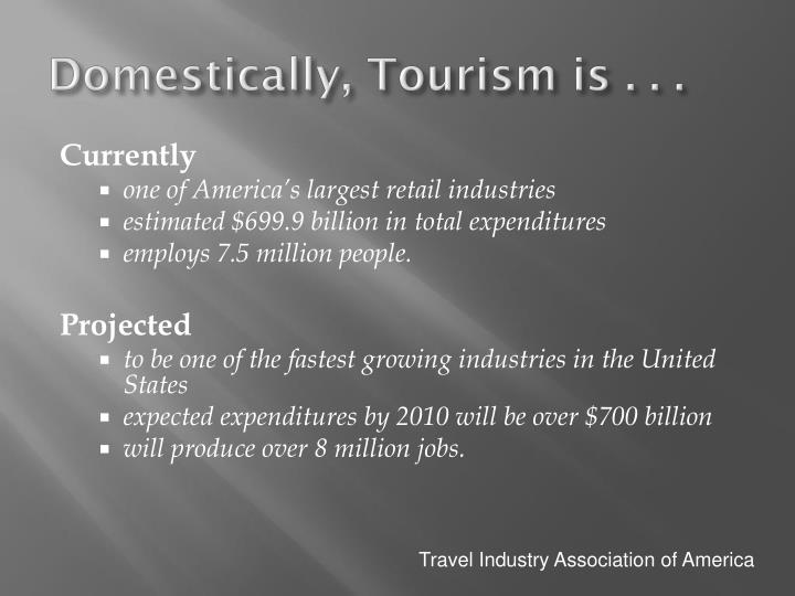 Domestically, Tourism is . . .