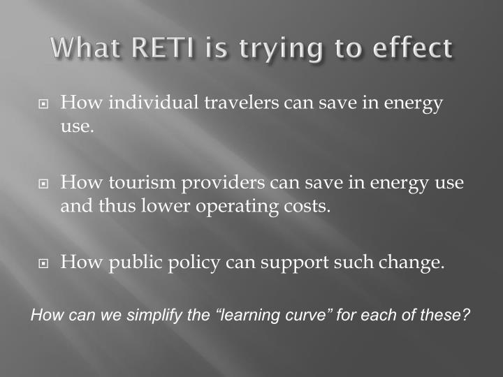 What reti is trying to effect