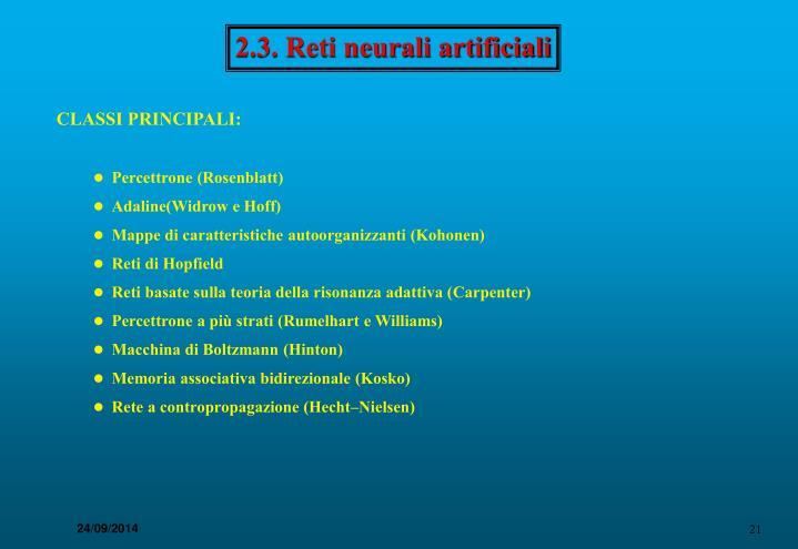 2.3. Reti neurali artificiali