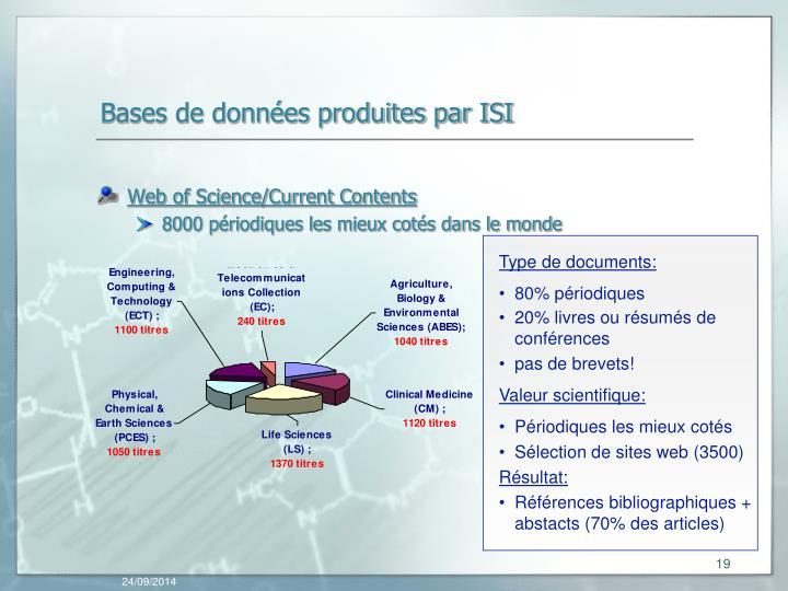 Bases de données produites par ISI