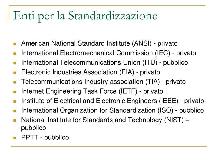 Enti per la Standardizzazione