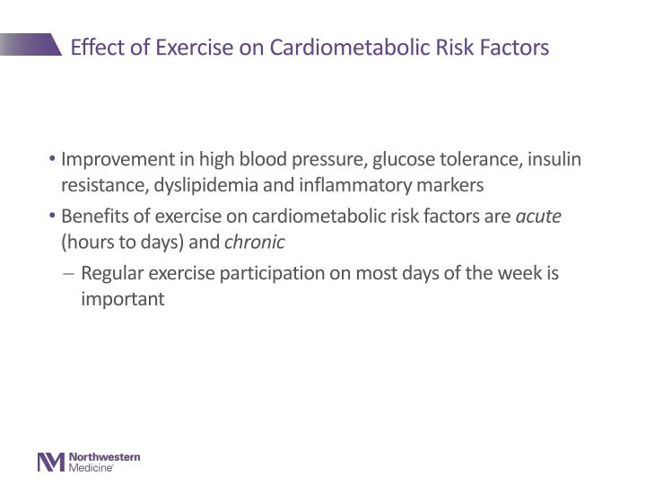 Effect of Exercise on Cardiometabolic Risk Factors