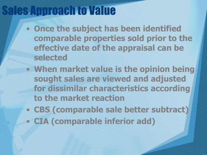 Sales Approach to Value