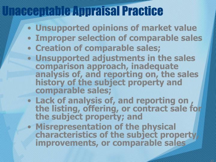 Unacceptable Appraisal Practice