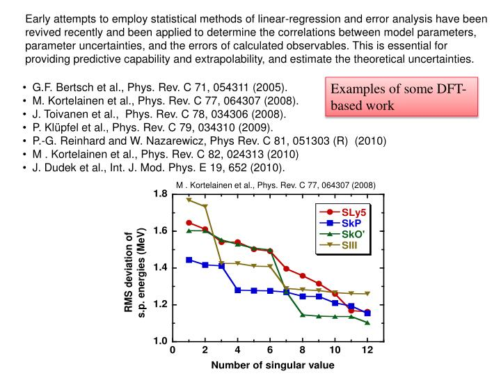 Early attempts to employ statistical methods of linear-regression and error analysis have been revived recently and been applied to determine the correlations between model parameters, parameter uncertainties, and the errors of calculated observables. This is essential for providing predictive capability and extrapolability, and estimate the theoretical uncertainties.