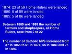 1874 23 of 59 home rulers were landed 1880 8 of 59 were landed 1885 5 of 86 were landed