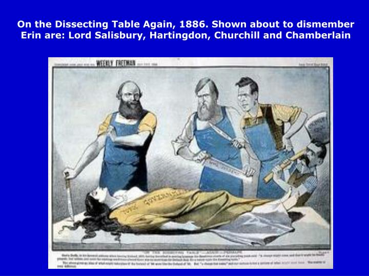 On the Dissecting Table Again, 1886. Shown about to dismember Erin are: Lord Salisbury, Hartingdon, Churchill and Chamberlain