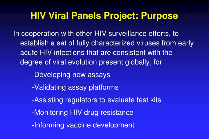 HIV Viral Panels Project: Purpose