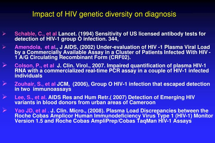 Impact of HIV genetic diversity on diagnosis