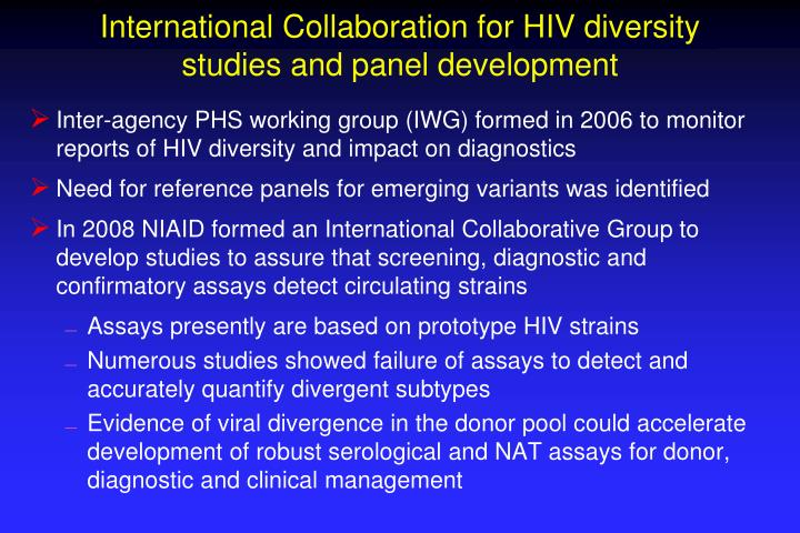 International Collaboration for HIV diversity studies and panel development