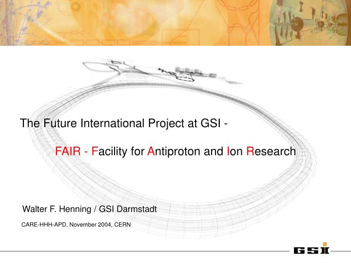 The Future International Project at GSI -