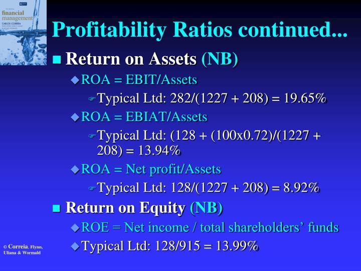 Profitability Ratios continued...