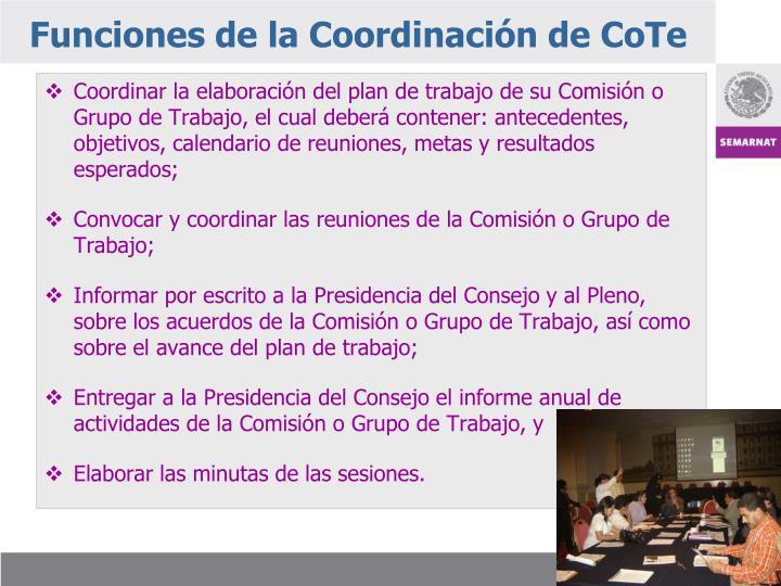 Funciones de la Coordinación de CoTe