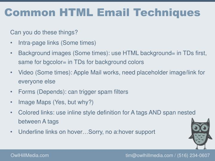 Common HTML Email Techniques