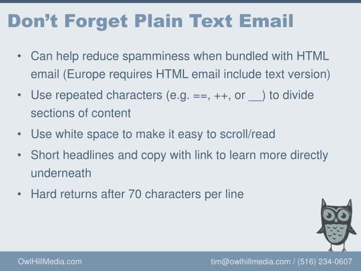 Don't Forget Plain Text Email