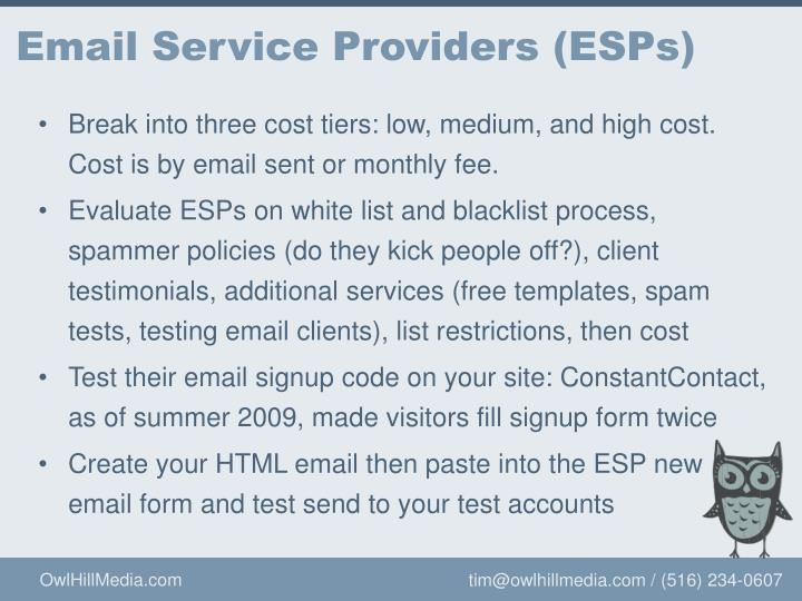 Email Service Providers (ESPs)