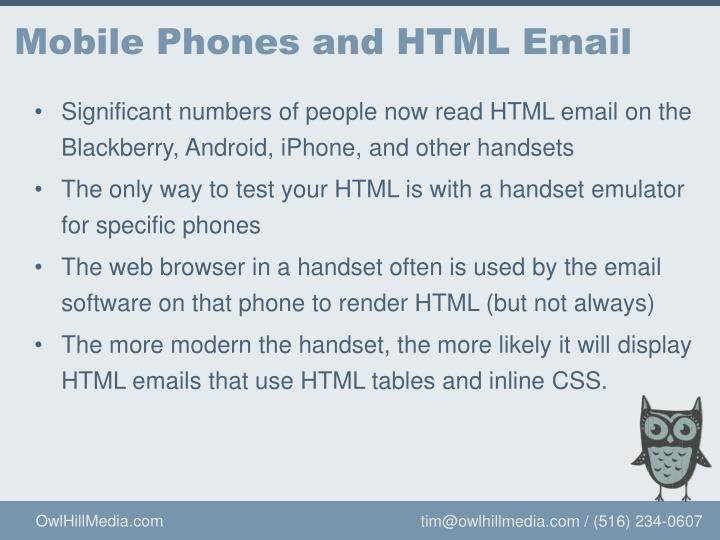 Mobile Phones and HTML Email