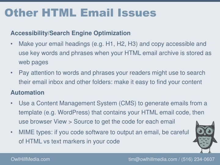 Other HTML Email Issues