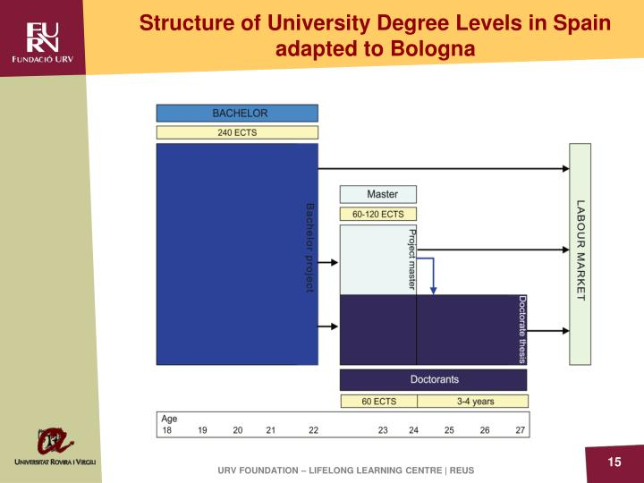Structure of University Degree Levels in Spain adapted to Bologna