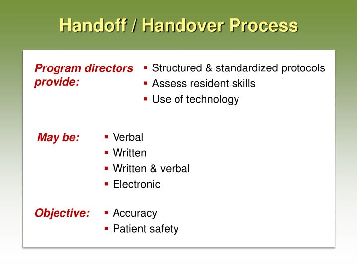 Handoff / Handover Process