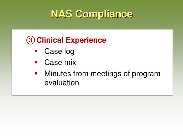 NAS Compliance