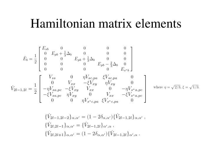 Hamiltonian matrix elements