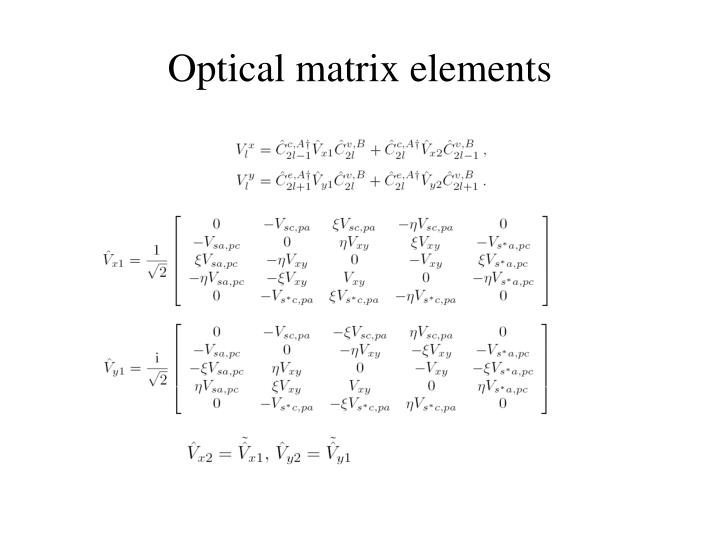 Optical matrix elements
