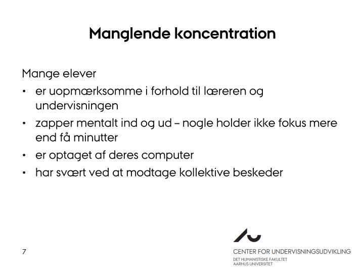 Manglende koncentration