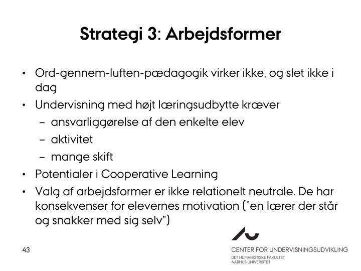Strategi 3: Arbejdsformer
