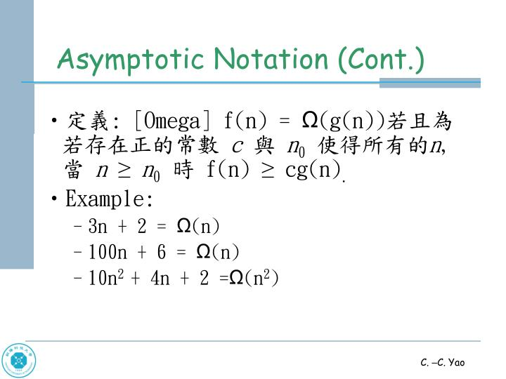 Asymptotic Notation (Cont.)