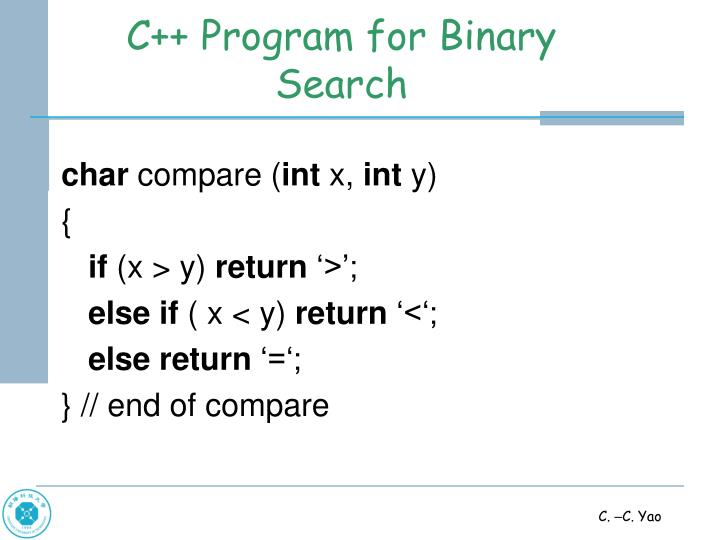C++ Program for Binary Search