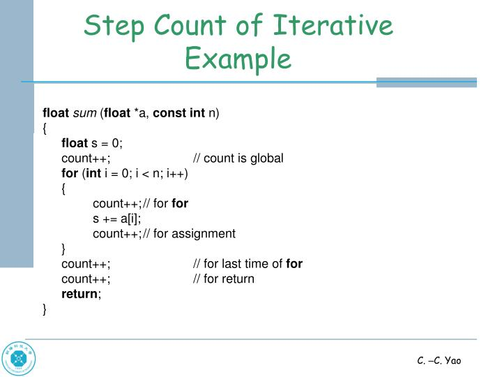 Step Count of Iterative Example