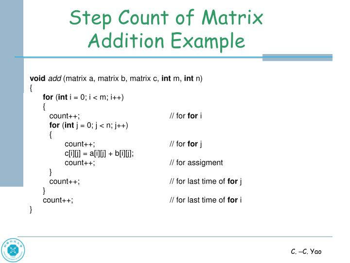 Step Count of Matrix Addition Example