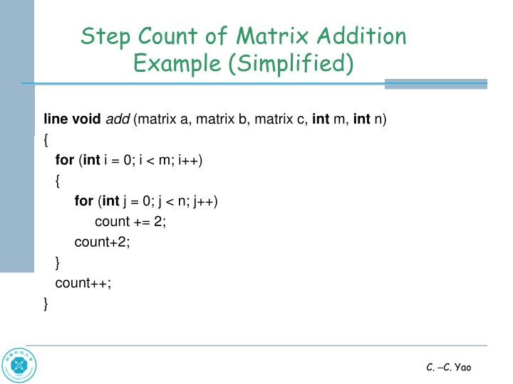 Step Count of Matrix Addition Example (Simplified)