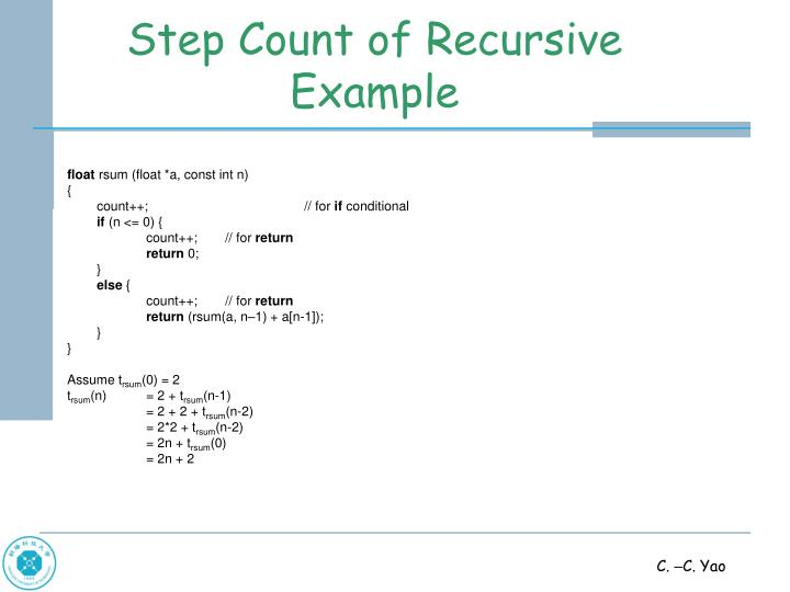 Step Count of Recursive Example