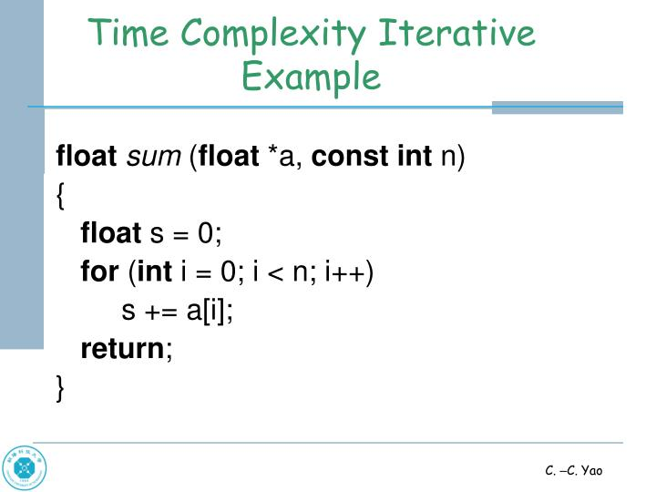 Time Complexity Iterative Example