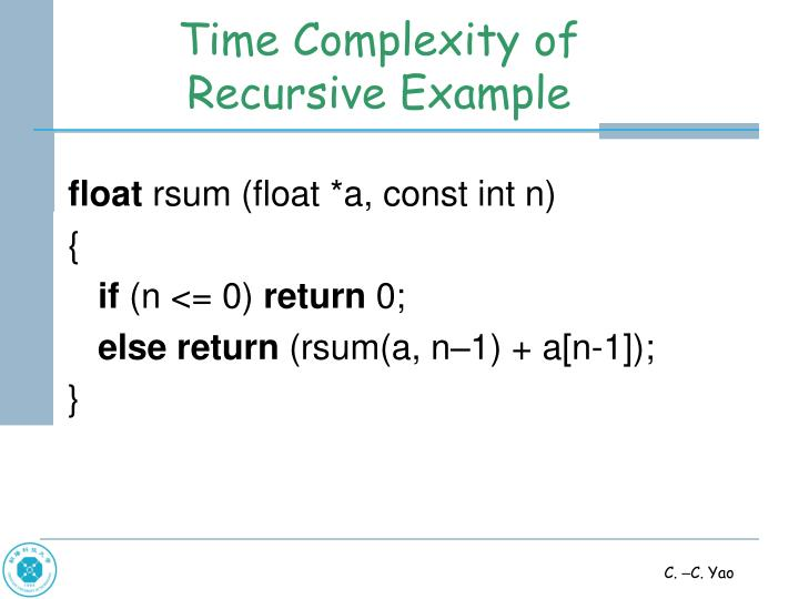 Time Complexity of Recursive Example