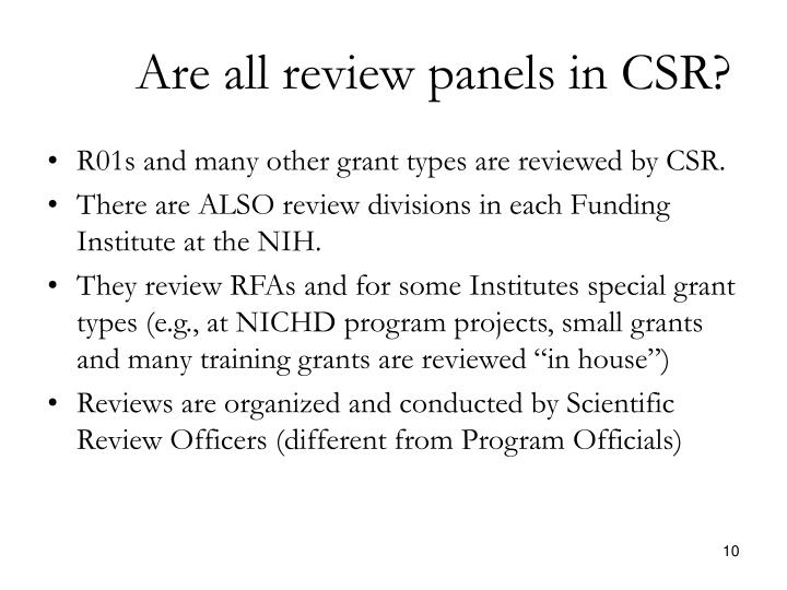 Are all review panels in CSR?
