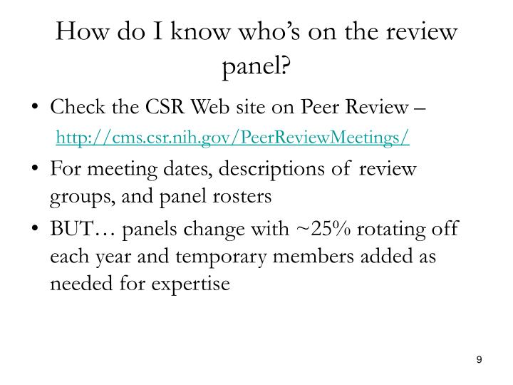 How do I know who's on the review panel?
