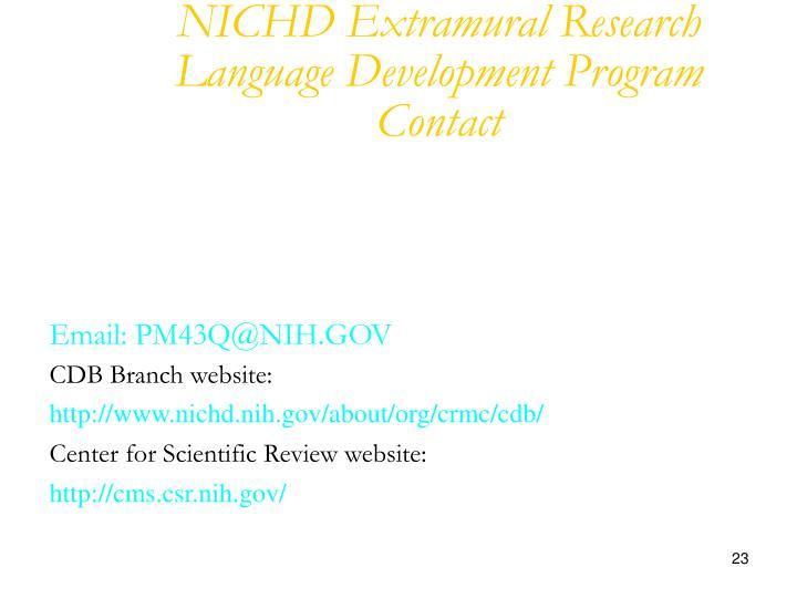 NICHD Extramural Research Language Development Program Contact