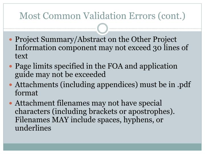 Most Common Validation Errors (cont.)