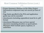 most common validation errors cont