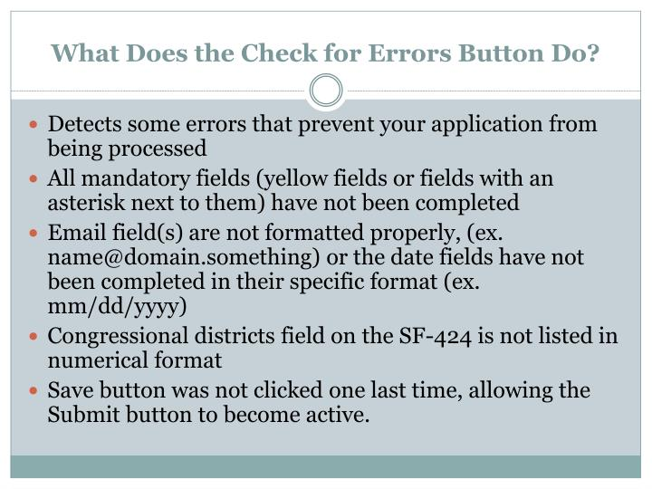 What Does the Check for Errors Button Do?