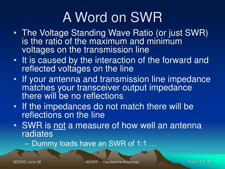A Word on SWR