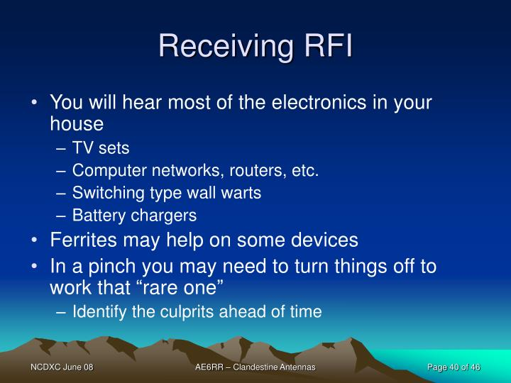 Receiving RFI