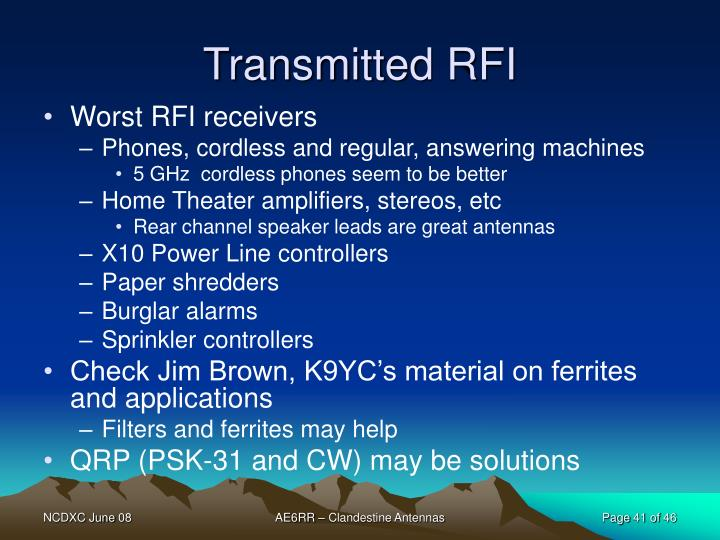Transmitted RFI